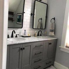 Grey Bathroom Cabinets, Grey Bathroom Vanity, Small Bathroom, Vanity Set, Dark Gray Bathroom, Bathroom Vanity Makeover, Gray Vanity, Bathroom Makeovers, Vanity Ideas