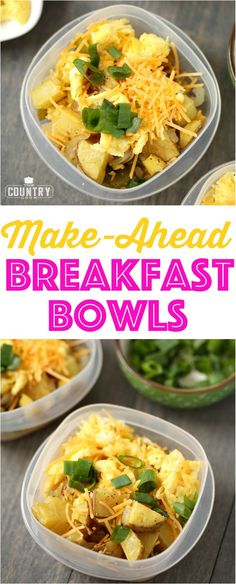 Make-Ahead Breakfast Bowls recipe from The Country Cook and @egglandsbest. Easy, protein-filled and filling! #yum #breakfast #ad