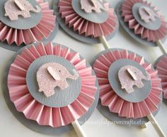 Pink and Gray Elephant Cupcake Toppers- Elephant Baby Shower Decorations..Set of 12. $14.00, via Etsy.