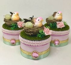 Diy Storage Boxes, Bird Party, Altered Boxes, Christmas Crafts For Kids, Rapunzel, Baby Shower, Fabric, Instagram Posts, Projects