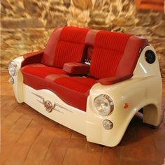 Car front converted into sofa.