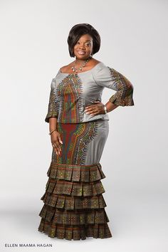 Ambassador of style: Ellen Maama Hagan in Vlisco's iconic Angelina design. Love this for my mother. African Print Dresses, African Wear, African Attire, African Fashion Dresses, African Women, African Dress, African Prints, African Inspired Fashion, African Print Fashion