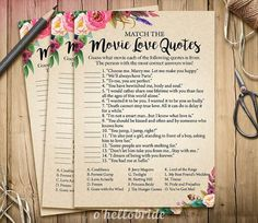 Movie Love Quote Match Game - Printable Boho Bohemian Bridal Shower Movie Quote Game - Bridal Shower Game - Bachelorette Party Games 003
