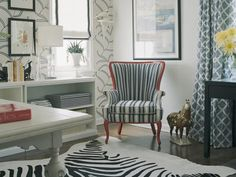 Bright Patterned Home Office with Zebra Rug and Blue Patterned Chair, Wall and Drapes - on HGTV Small Space Living, Small Spaces, Living Spaces, Patterned Roman Shades, Patterned Wall, Home Office Design, House Design, Office Designs, Contemporary Home Offices