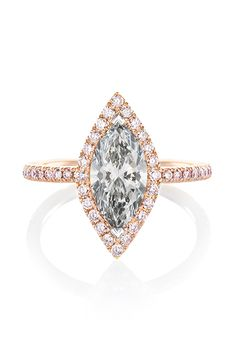 De Beers - Master Diamonds solitaire ring featuring a fancy grey marquise-cut diamond and a white diamond pavé halo set in rose gold.