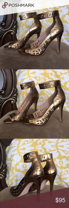 """Nicole Miller Bronze Sandal Heels Sexy and classic would bold colors. Will fit everything from eveningwear to maxi dresses and looks for every occasion. These shoes are bran new, never been worn. Heel height is 4 1/2"""" Leather upper. NWOT Nicole Miller Shoes Heels"""