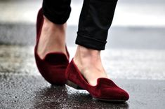 red velvet loafers