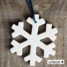 Mark Lauberg - Keramik håndlavet julepynt, snefnug hvid