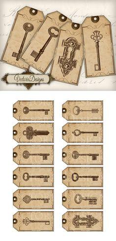 Printable Key Tags by VectoriaDesigns on DeviantArt Vintage Keys, Vintage Labels, Vintage Ephemera, Papel Vintage, Vintage Paper, Printable Labels, Printables, Etiquette Vintage, Key Tags