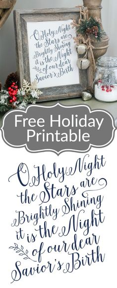 I love this hymn of faith to celebrate Christmas! It points us back to the true Reason for the Season O Holy Night Free Printable Christmas Signs, Rustic Christmas, Christmas Projects, Winter Christmas, Holiday Crafts, Holiday Fun, Christmas Holidays, Christmas 2019, Christmas Movies