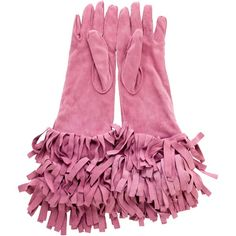 Pre-owned Burberry Prorsum Suede Fringe Gloves ($195) ❤ liked on Polyvore featuring accessories, gloves, pink, burberry, burberry gloves, pink gloves and suede gloves