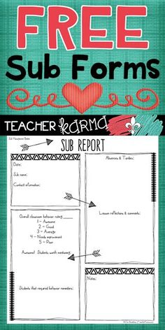 FREE Sub Report Forms TEACHERS & SUBSTITUTES: It is passed mid-April and I know we are ALL needing a bit of a break right about now! Leaving clear notes and organized classroom information for our substitutes is an absolute must... especially this time of year. These substitute forms are perfect for adding to your Sub Binder! Click here or on the graphic above to get your FREE Sub Report Forms. Best wishes! sub forms sub notes sub organization substitute binder http://teacherkarma.com