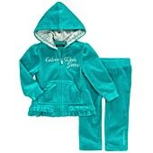 Calvin Klein Baby Set, Baby Girls 2-Piece Velour Jacket and Pants