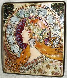 "Russian Large Lacquer box Art Nouveau "" Zodiac "" by Mucha Hand Painted"