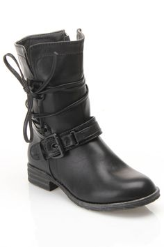 Strappy Flat Combat Boots