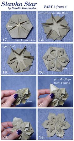 Slavko Star tutorial part 3 – Origami Origami Ball, Origami Paper Folding, Origami Star Box, Origami Wedding, Fabric Origami, Paper Crafts Origami, Origami Stars, Paper Crafting, Diy Paper