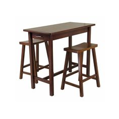Winsome Wood Bistro / Pub Set with Saddle Stools in Home & Garden, Furniture, Dining Sets Winsome Wood, Wood Accent Table, 3 Piece Dining Set, Breakfast Table Setting, Pub Table Sets, Counter Height Dining Sets, Kitchen Island Table, Kitchen Island With Seating, Saddle Stools