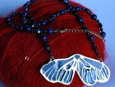 Gilded Butterflywing Enamel Pendant  made by the by Zabumbe, $199.00