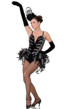 """LEOTARD: Black stretch velvet with overlay of square multicolored sequins and nude sheer BUSTLE: Black stiff tricot with more colorful sequins SIZES: Child: M-L-XL, Adult: S-M-L-XL-XXL-XXXL FOR HAT ORDER # 8347 FOR BLACK GLOVES ORDER # 8582-051  FOR """"DIAMOND"""" EARRINGS AND NECKLACE SEE ACCESSORIES Imported"""