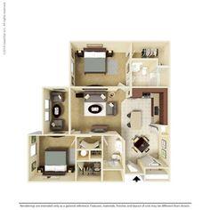 2 Bedroom 1155 Sq Ft B1-S2   Ooltewah, TN Integra Preserve Floor Plans   Apartments in Ooltewah, TN - Floor Plans
