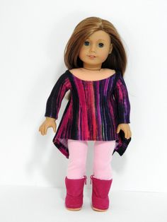 Trendy American Girl Doll Clothes Handmade Twirly Shark Bite Tunic and Leggings