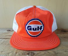 20dd0d93715 Vintage 80s GULF Oil  amp  Gas Mesh Orange Trucker Hat Snapback Baseball  Cap Canada