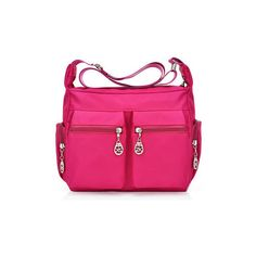 Multi-pockets Nylon Waterproof Outdoor Crossbody Bag Shoulder Bag ($16) ❤ liked on Polyvore featuring bags, handbags, shoulder bags, rose red, nylon crossbody handbags, multi pocket purse, multi pocket shoulder bag, pink crossbody and crossbody purses