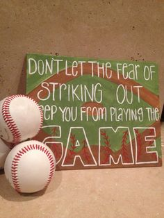 Fear of Striking Out Hand-Painted Canvas via Etsy