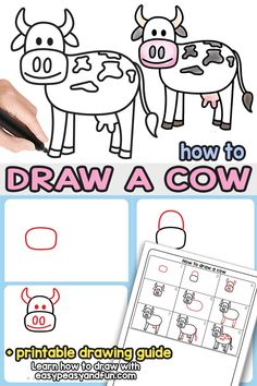 Kid styles 552324341796016673 - How to Draw a Cow Step by Step Drawing Tutorial. With this printable directed drawing guide you will learn how to draw a super easy cow in no time. Great both for kids and beginners. Source by easypeasyandfun Pencil Drawings For Beginners, Drawing Videos For Kids, Drawing Tutorials For Beginners, Drawing Lessons, Drawing Guide, Drawing Techniques, Drawing Ideas, Art Lessons, Sketching Tips