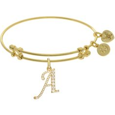 7.25 Adjustable Angelica Yellow Brass Initial A Charm Bangle Bracelet ($33) ❤ liked on Polyvore featuring jewelry, bracelets, wide bangle bracelet, initial jewelry, initial charm bracelet, yellow bangle bracelet and brass bangles