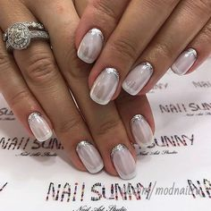 Nail Art : Opaque White Bedazzled Glamorous Nails