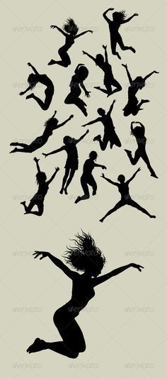 Girl Jumping Silhouettes  #GraphicRiver         13 Female jumping action silhouettes vector (Can use any size you want without loss resolution). Good use for your symbol, logo, sticker, wallpaper, or any design you want. ZIP included : AI rgb, EPS8 cmyk, JPEG high resolution, PNG transparent, and CDR (CorelDraw vector)     Created: 2July13 GraphicsFilesIncluded: TransparentPNG #JPGImage #VectorEPS #AIIllustrator Layered: No MinimumAdobeCSVersion: CS Tags: action #activity #background…