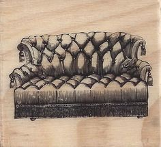 MICHAELS BRAND Wooden Stamp VINTAGE SOFA 2x2 New In Package