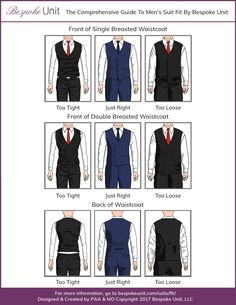 The team at Bespoke Unit takes you through the ins and outs of how a men's dress waistcoat (also known as a vest) should fit. Shows proper shape and length. Suit Fashion, Mens Fashion, Fashion Tips, Suit Fit Guide, Mens Grey Shoes, Waistcoat Men, 3 Piece Suits, Men Style Tips, Wedding Suits