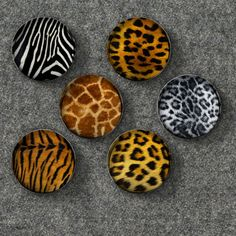 Wild Animal Furs Glass Bubble Magnets - Set of 6 Magnets
