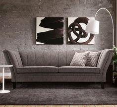 Sofa: Art decó Traum in hellgrau