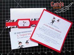 Linda tarjeta en colores blanco, rojo y negro. Cod. TDB002