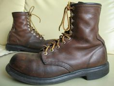 Vintage Red Wing Steel Toe Work Boots 2233 Brown by oldtanery ...