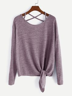 Pink Drop Shoulder Criss Cross Tie Front T-Shirt Mobile Site