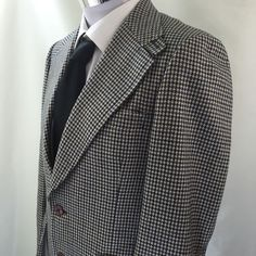 Rome Custom Tailoring Wool Men's Suit Jacket Blazer Houndstooth Blue Brown #RomeCustomTailoring #TwoButton