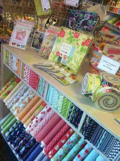 Moda the cutting table: unexpected joy fabric display, fabric storage, Fabric Display, Fabric Storage, Craft Shop, Craft Stores, Quilting Room, Quilting Ideas, Store Displays, Retail Displays, Shop Layout