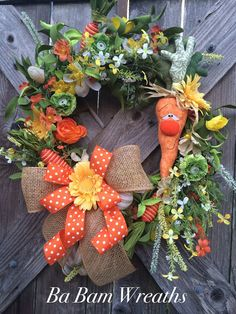 Primitive Easter Wreath, Burlap Easter Wreath, Easter Wreath, Country Carrot