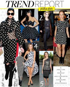 <3 No 1 Jameela Jamil in Black strapless full skirt dress with white spots