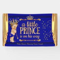 Lona Príncipe Baby Shower Azul Dorado Violó a Brunette
