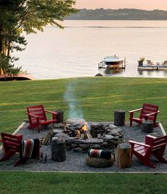 Backyard Fire Pit By The Lake.well it would be front yard fire pit Diy Fire Pit, Fire Pit Backyard, Cozy Backyard, Backyard Signs, Rustic Backyard, Backyard Bbq, Fire Pit Decor, Fire Pit Gravel Area, Deck With Fire Pit