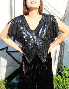a2d8ef5041a96 silk butterfly sequin top blouse vintage 70s  80s glam top  retro disco  boho top  crop top  designer