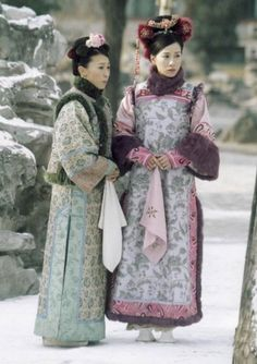 Ancient Chinese fashion and styles from drama series. Charmaine Sheh (right)