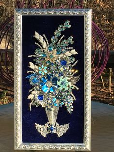 Vintage Rhinestone Jewelry Christmas Tree Art - Floral Arrangement Art - By Tami R Dean - For Sale In My EBay Store Finders Keepers Collectible Art ♥