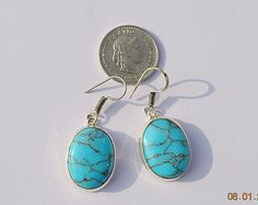 925 Silver Plated Earring, Created Turquoise Gemstone German silver Earring by bilalGems8 on Etsy