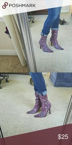 Fabulous faux snakeskin boots Are you the hottie of the year or what? Check out these boots and see if you can imagine a cool outfit to style them with.  They are wicked sexy. Size 8. Enzo Angiolini.   Maybe even a sexy costume. Let your style and you imagination run wild! Enzo Angiolini Shoes Heeled Boots